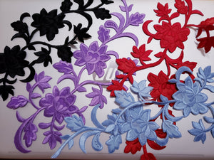Large Black Red Purple Blue Floral  Patch Iron On.Heat Transfer Embroidery Applique for DIY Craft Costume Embellishment. Dress Denim  Accessory.Washable .