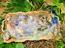 Resin Geode Serving Tray Platter.Green Blue Brown Cheese Tray. Geode Painting Art. Vanity Tray.