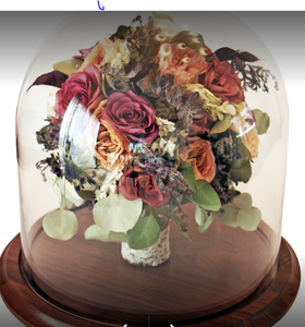 Preserved Wedding Flowers Bouquet in Large Clear Glass Box Keepsake Bridal memories of your wedding, anniversary,funeral. Resin Paperweights