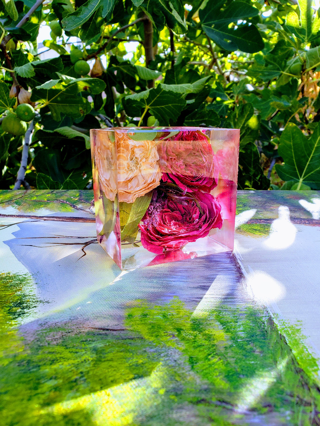 Preserving wedding Flowers in Large Resin Cube like glass Paperweight Keepsake Sweet romantic memories of your wedding, anniversary,funeral.