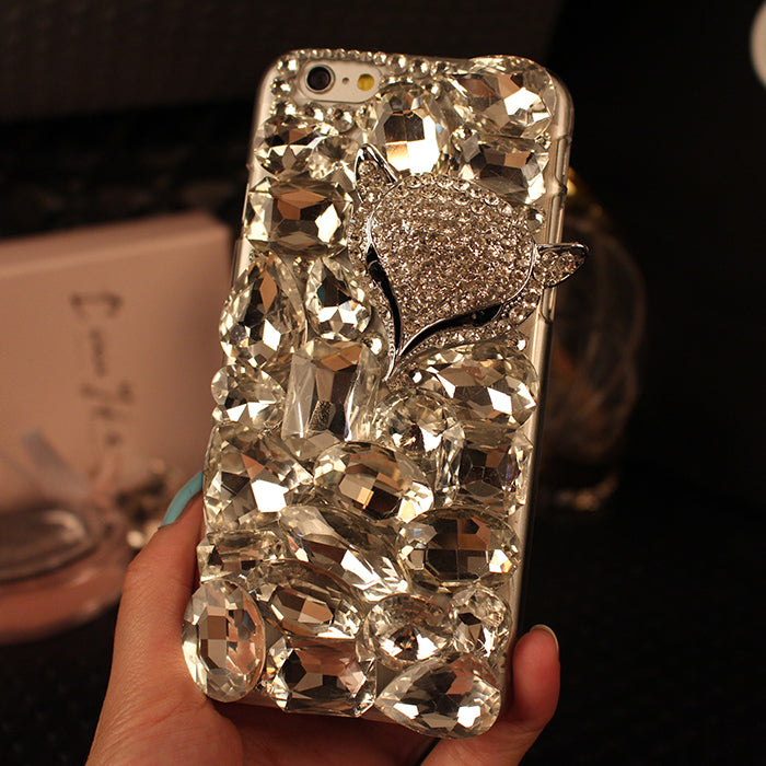 3D Luxury Diamond Fox Head Bling Rhinestones Case For iPhone 7, 8, 7 Plus, 8 Plus