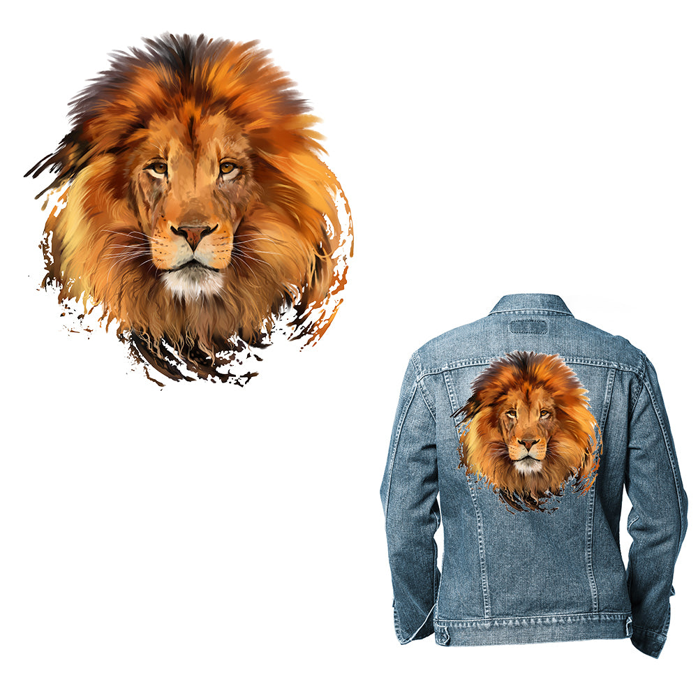 Large Lion Animal Patch Iron On Heat Transfer Patch  Applique DIY  Craft Costume Embellishment  Dress Accessory  Washable patch