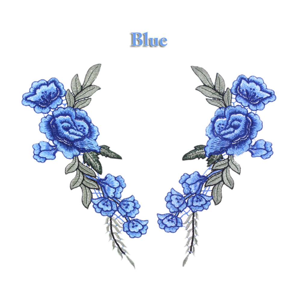 2 pcs/set New Blue  Rose Floral Patch Embroidery Lace  Applique Sew on. 2Pcs/set DIY Clothes  Dress Rose Collar Embroidered Fabric Sticker