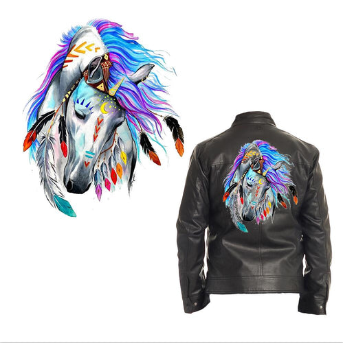 Large Horse Patch Iron On Heat Transfer . Applique for DIY Craft. Costume Embellishment. Dress Denim Jacket T-Shirt Accessory