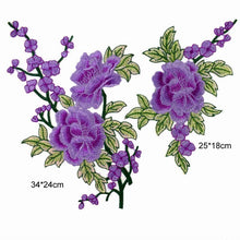 2 pcs/set New Blue Purple Rose Floral Patch Embroidery Lace  Applique Sew on. 2Pcs/set DIY Clothes  Dress Rose Collar Embroidered Fabric Sticker