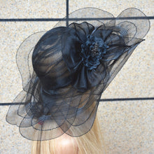 Black Tulle breathable women summer sun hat Kentucky Derby polyester feather wide brim floral Funeral hats