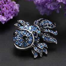 Blue  Vintage Design  Crystal Rhinestone Fish Brooch for Women Dress Scarf Brooch Pins Jewelry Accessories Gift. Large brooch.
