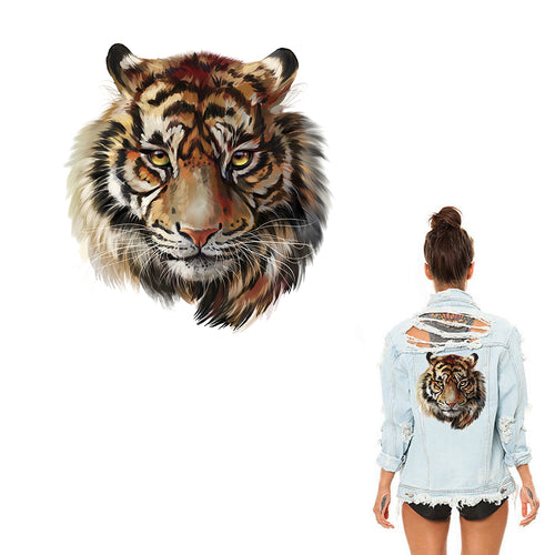Large Tiger Animal Patch Iron On Heat Transfer  Patch. Applique DIY Craft.Costume Embellishment. Dress Accessory .Washable patch.