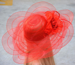 Red Tulle breathable women summer sun hat Kentucky Derby polyester feather wide brim floral Funeral hats