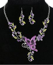 Butterfly Flowers Rhinestones Pendant Necklace Earrings Set Statement Necklace Accessories.Wedding Bridal Crystal Statement Body Chain Jewelry.