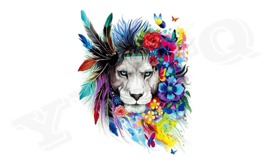 Large Lion Animal Flowers Iron On Heat Transfer Embroidery Applique for DIY Craft  Embellishment Dress T-shirt Jacket Jeans Backpack Accessory.