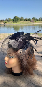 Black Wedding Church Party Fascinator Hat.Costume Bridal Veil Wedding Hair Clip Head Accessory.White Funeral Derby Fascinator hat.Headpiece
