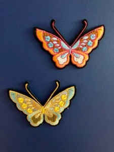Set of 2  Butterflies  Patch Sew on Glue On. Embroidery Applique for DIY Craft  Embellishment. Dress Denim  Accessory.Washable. Heat on sticker