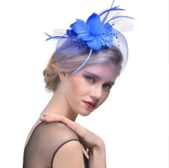 Sky Blue Wedding Church Tea Party Fascinator Hat.Costume Feather Bridal  Wedding Hair Clip Head ... 7955e43f138