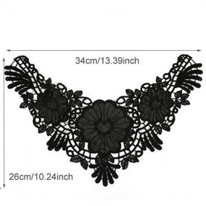 Large Black Floral Lace Fabric Embroidery Neckline Collar Patches Applique  Clothes Sewing Accessories. Sew on. Shipping from USA