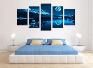Large 5 Pieces / 5 Panel Canvas, Moonlight Mountain Lake Moon Nature  Office  Wall Art Print, Video Game Poster Canvas Art Painting Wall Decor Decoration Decal Mural
