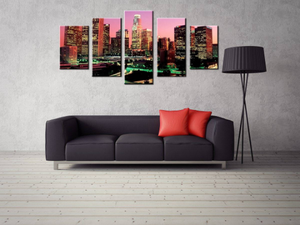 Large 5 Pieces / 5 Panel Canvas, Los Angeles City US California  Office  Wall Art Print, Video Game Poster Canvas Art Painting Wall Decor Decoration Decal Mural