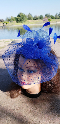 Royal Blue Wedding Church  Party Fascinator Hat.Veil Feather Bridal Wedding Hair Clip Head Accessory. Funeral Derby Fascinator hat.Headpiece
