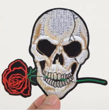 Large Scull Rose Flowers  applique.Large  Patch Iron  On Heat Transfer Embroidery Applique for DIY Craft  Embellishment Dress T-shirt Jacket Jeans Backpack Accessory.