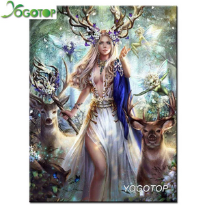 Large Diamond Painting kit DIY Sexy Beauty Lady Woman Deer. Mosaic  Embroidery Drill rhinestone painting .Cross Stitch Crystal Needlework.