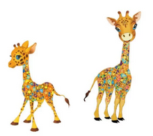 Large Giraffe Set of 2  Patch Iron On.  Heat Transfer  Applique for DIY Craft . Dress T-shirt  Denim Jacket  Backpack Accessory.
