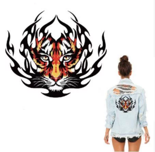 Large Animal Tiger Lion Patch Iron On Heat Transfer  Patch. Applique DIY Craft.Costume Embellishment. Dress Accessory .Washable patch.