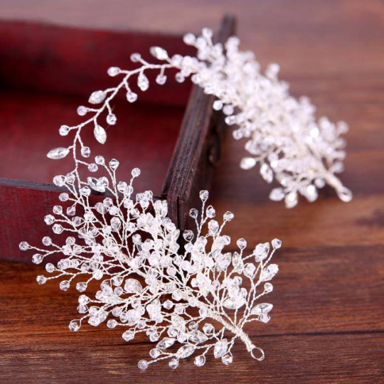 Wedding Hair Accessories Vine Veil Bridal  Flowers Crystal Pearl Headbands Charm Women Tiara Hair Vine Veil Hair Jewelry.Hair swag.