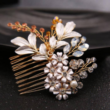 Wedding Hair Accessories Crystal Pearl Floral Hair Comb Bridal Tiaras Wedding  Hair Pin  Barrettes Jewelry