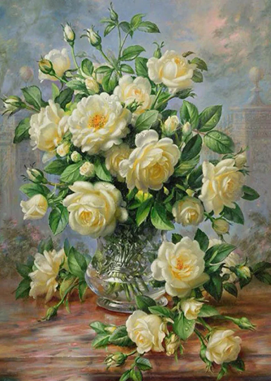 Large Diamond Painting kit  White Rose  Flowers Mosaic Embroidery  rhinestone painting Cross Stitch Crystal Needlework Kids Activity