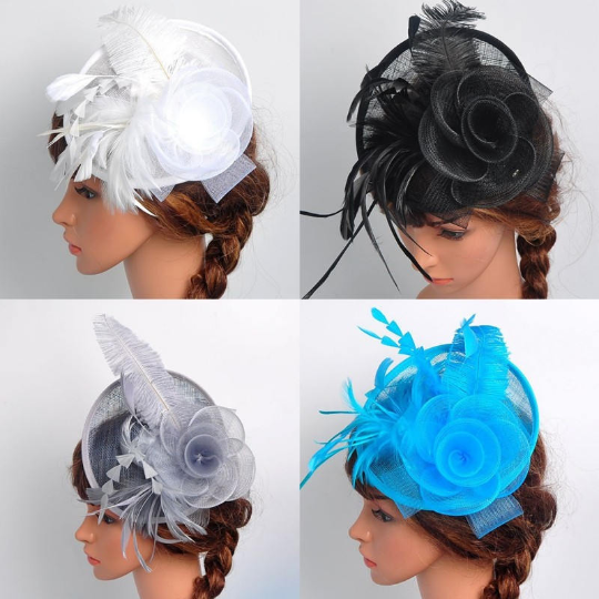 White, Black, Grey,Turquoise Wedding Church Party Fascinator Hat.Costume Bridal Veil Wedding Hair Clip Head Accessory.White Funeral Derby Fascinator hat.Headpiece