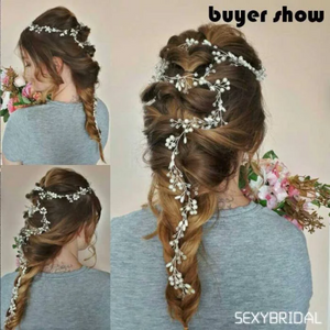 Luxury Wedding Hair Accessories For Bride. Overlong bridal vine  Headband Crystal Pearl Floral Hairbands Tiaras Charming Women Hair Jewelry