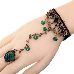 Bohemian Gothic Black Lace Green Rose Metal Bracelet Ring Gothic Style Handmade Lace Bracelet With Ring Chain. Boho Bracelet. Vintage Style.