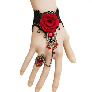 Bohemian Gothic Black Lace Red Rose Metal Bracelet Ring. Gothic Style Handmade Lace Bracelet With Ring Chain. Boho Bracelet. Vintage Style.
