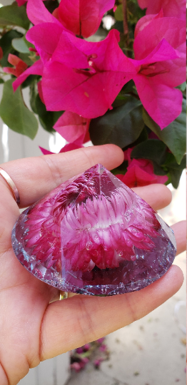 Handmade Diamond shaped resin Red Purple Wild Rose paperweight keepsake.Home Office Desk decor.Great gift for her and him.