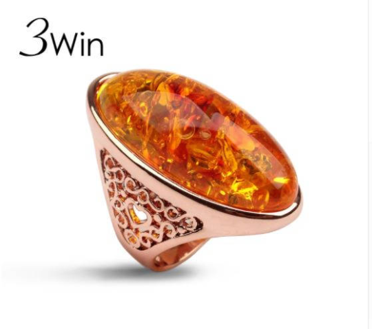Amber Women Filigree Statement Cocktail Ring. Rose Gold Wedding Bridal Party Jewelry. Amber Gemstone Ring.Bohemian Style Ring.