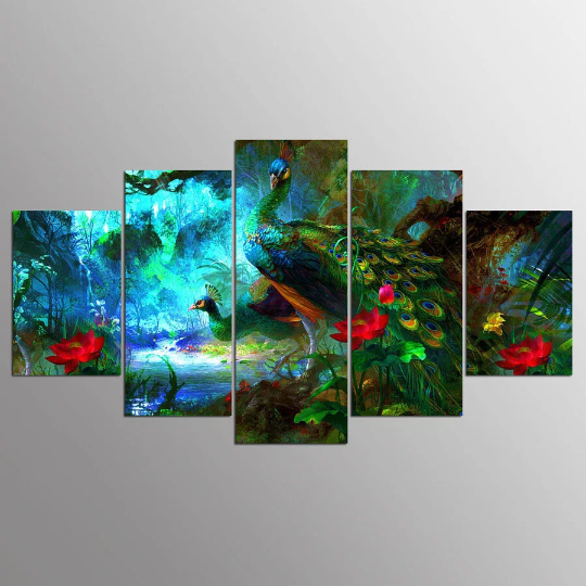 Set of 5 pcs. Extra Large Peacock Forest Diamond Painting kit DIY mosaic  embroidery Rhinestone painting .Cross Stitch Crystal Needlework.