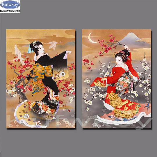 Set of 2 Chinese Girl  Woman Diamond Painting kit. Set of 2. DIY painting  beauty Cross Stitch  Needlework Embroidery.Diamond Mosaic.