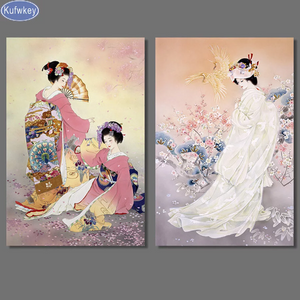 Set of 2 Large Chinese Girl  Woman Diamond Painting kit. Set of 2. DIY painting  beauty Cross Stitch  Needlework Embroidery.Diamond Mosaic.