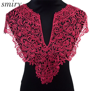 Large Red Lace Fabric Embroidery Neckline Collar Patches Applique  Clothes Sewing Accessories. Sew on. Shipping from USA