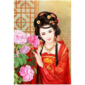 3D Chinese Girl  Woman in red Diamond Painting kit DIY painting CLASSICAL  beauty. Cross Stitch Crystal Needlework Embroidery.Diamond Mosaic.