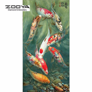 Diamond Painting kit DIY Green Red Fish   . Girl  Mosaic  Embroidery Drill rhinestone painting .Cross Stitch Crystal Needlework.