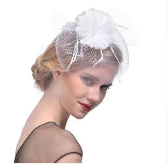 White Red Bridal  Wedding Church Party Fascinator Hat.Costume Bridal Veil Wedding Hair Clip Head Accessory.White Funeral Derby Fascinator hat.Headpiece