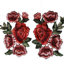 Red Rose 2 pcs/set  Floral Patch Embroidery Lace  Applique Sew on.  DIY Clothes  Dress Rose Collar Embroidered Fabric Sticker.Dress T-Shirt Jacket
