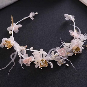 Romantic Pink Floral Wedding Tiara. Veil Feather Bridal Hair Accessories  Party Hairbands Women Headpiece.