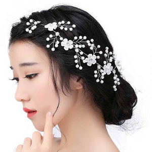 Wedding Hair Accessories For Bridal Lace Flowers Crystal Pearl Headbands Charm Women Tiara Hair Vine Veil Hair Jewelry.