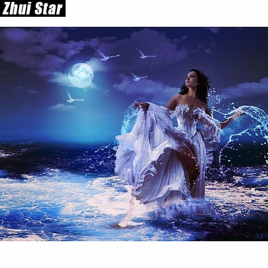 3D  Mermaid Sunset Sea  DIY Diamond Painting kit DIY painting style Classical. Cross Stitch Crystal Needlework Embroidery.Diamond Mosaic. Beauty Goddess Sea Lady painting kit