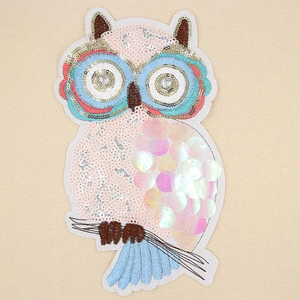 Extra Large Sequins White Pink Owl Sew On Patch. Embroidery Applique for DIY Craft Costume Embellishment. Dress Denim  Accessory.Washable .