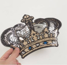 Extra Large Sequins Crown Sew On Patch. Embroidery Applique for DIY Craft Costume Embellishment. Dress Denim  Accessory.Washable .