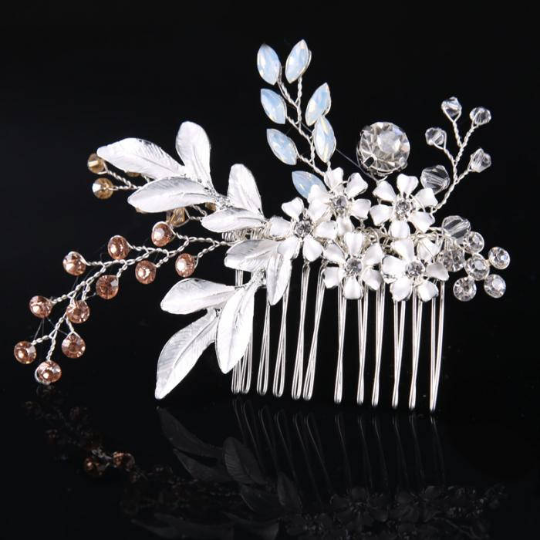 Wedding Hair Accessories Crystal Pearl Floral Hair Comb Bridal Tiaras Wedding  Hair Pin  Barrettes Jewelry Hair Accessories For Women