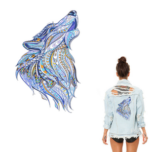Large Mosaic Animal Wolf  Patch Iron On Heat Transfer. Applique for DIY Craft. Costume Embellishment. Dress Accessory
